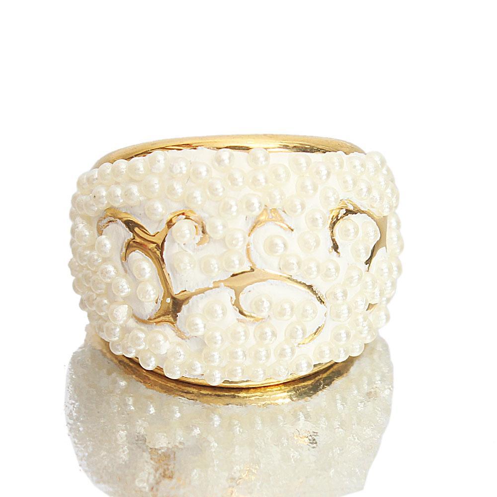 Gold Pearl Luxury Ladies Steel Ring
