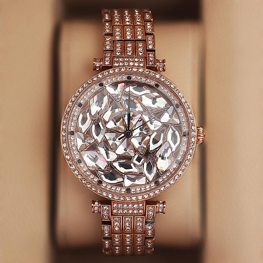 Davena Rose Gold Crystal Studded Ladies Luxury Watch