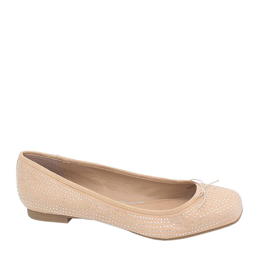 M&S Collection Beige Studded Leather Ladies Flat Shoe