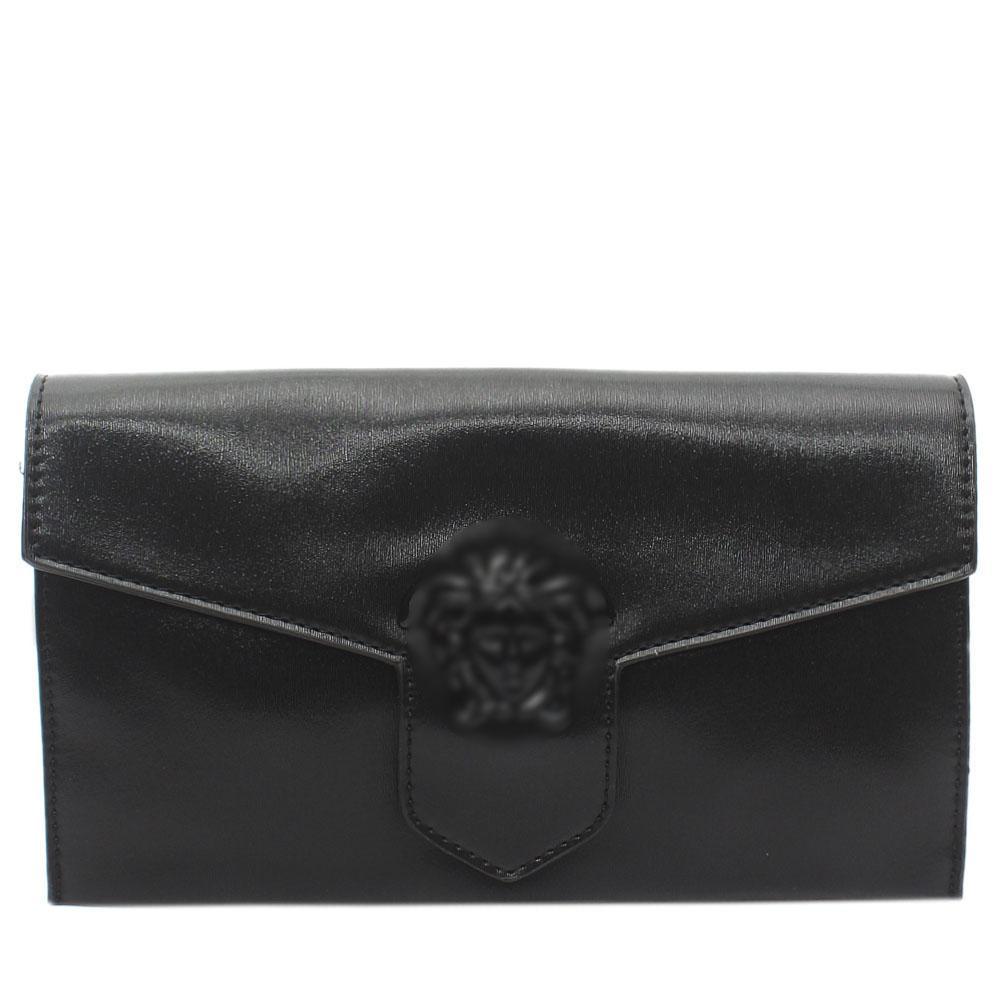 Black Leather Flat Purse