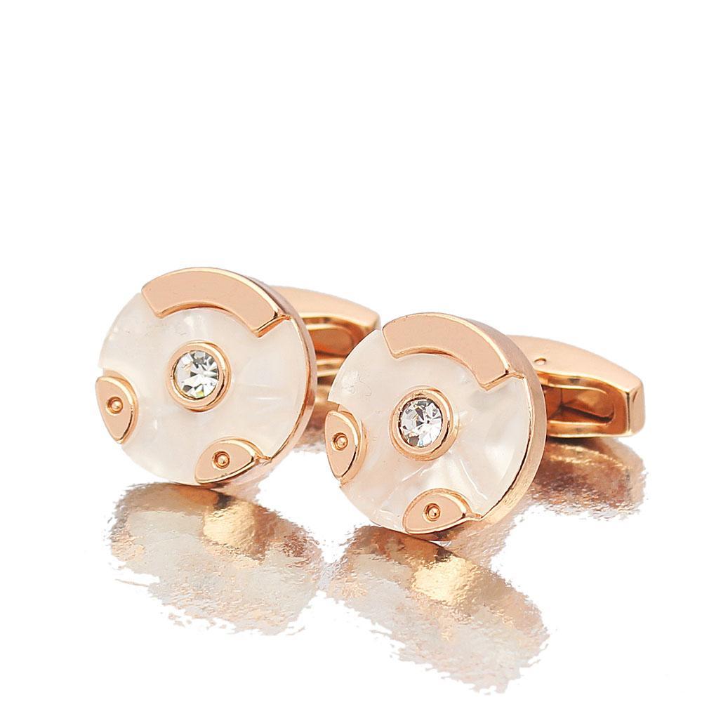 Pearl White Ceramic Rose gold Stainless Steel Cufflinks