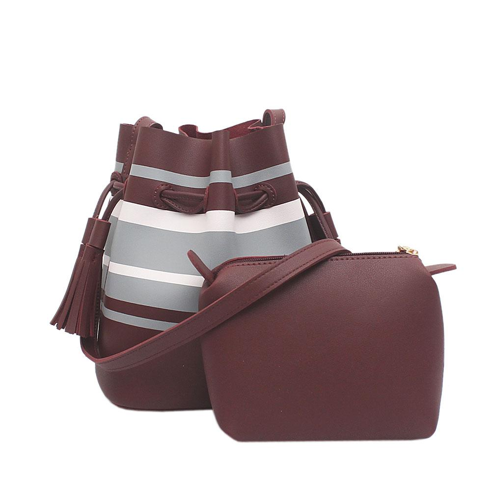 London Style Wine White Grey Leather Shoulder Bag