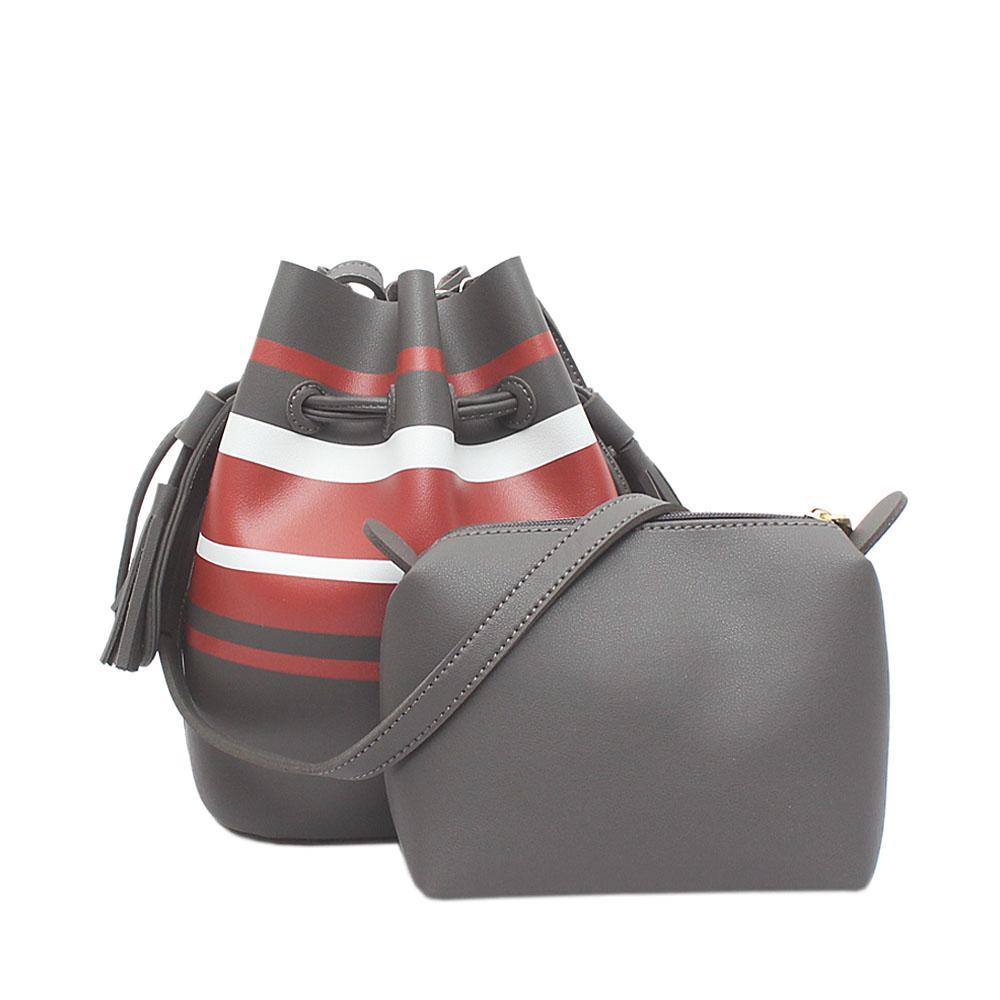 London Style Grey Orange White Leather Shoulder Bag