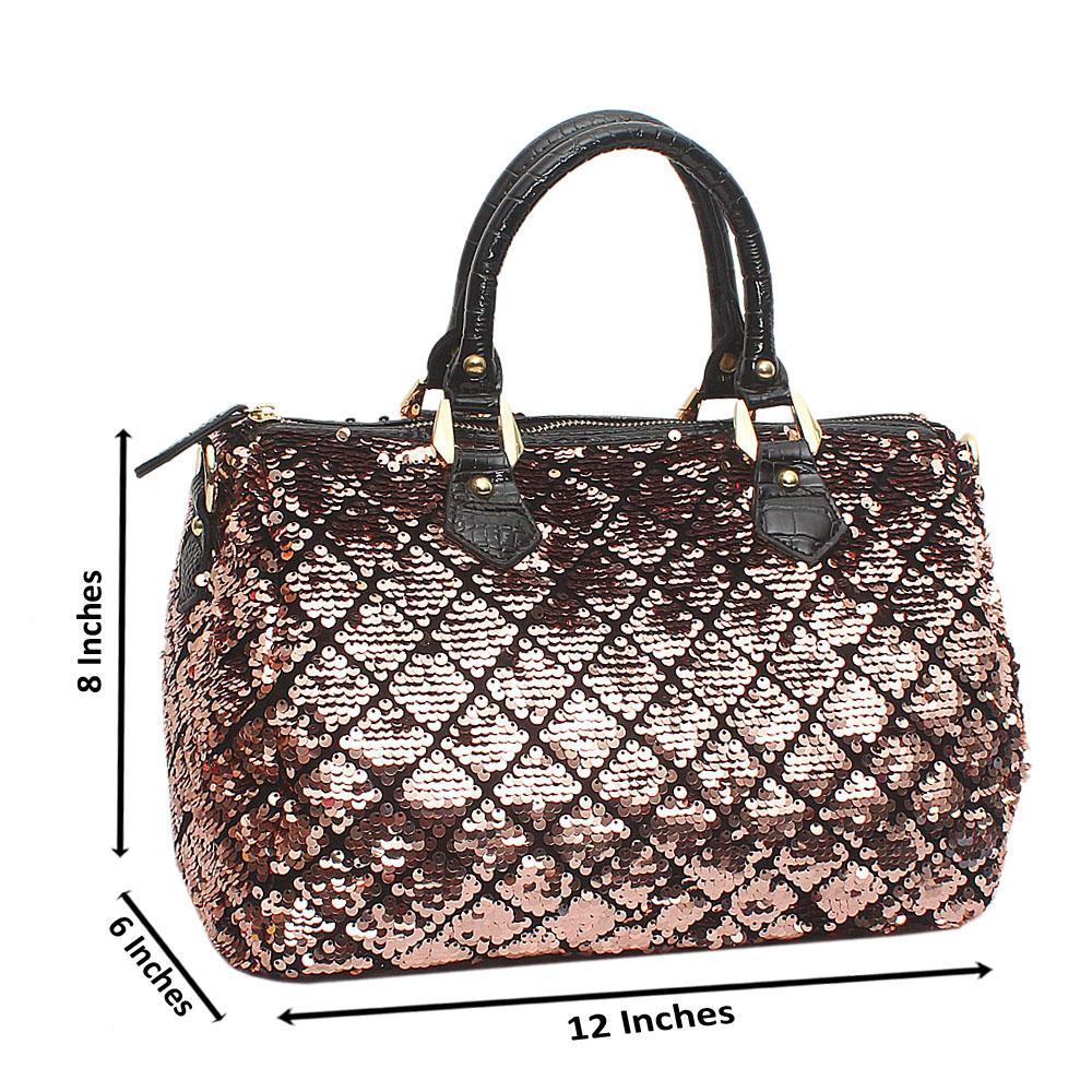 Brown Black Quadron Leather Medium Handbag