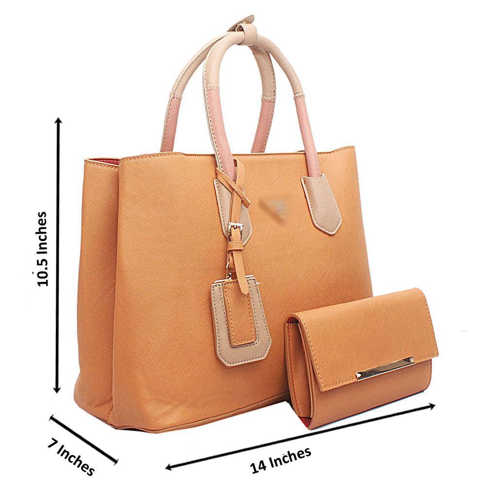 Brown Mix Large Handbag wt Purse