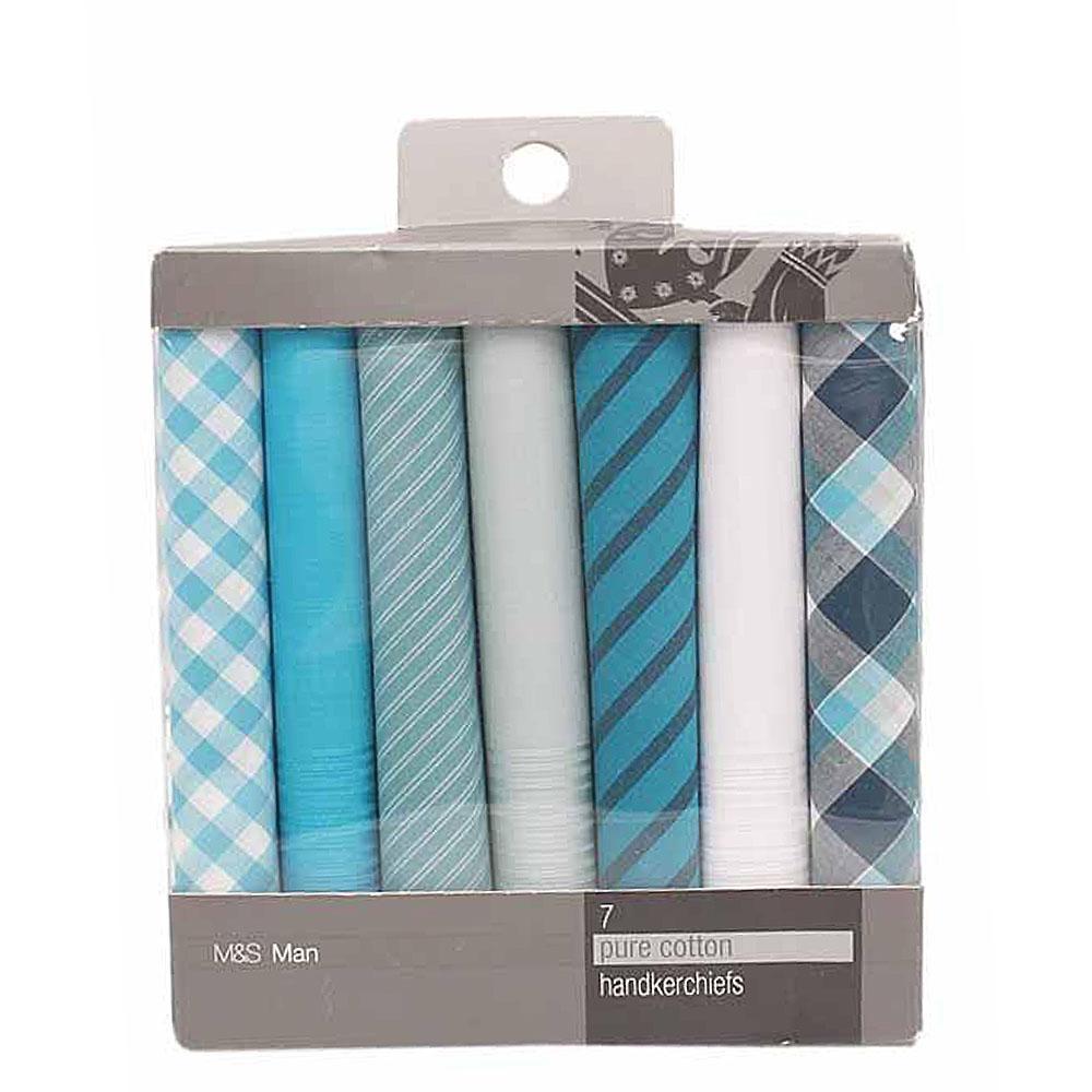 M & S Man T.Green White Pure Cotton 7 Pairs Handkerchiefs