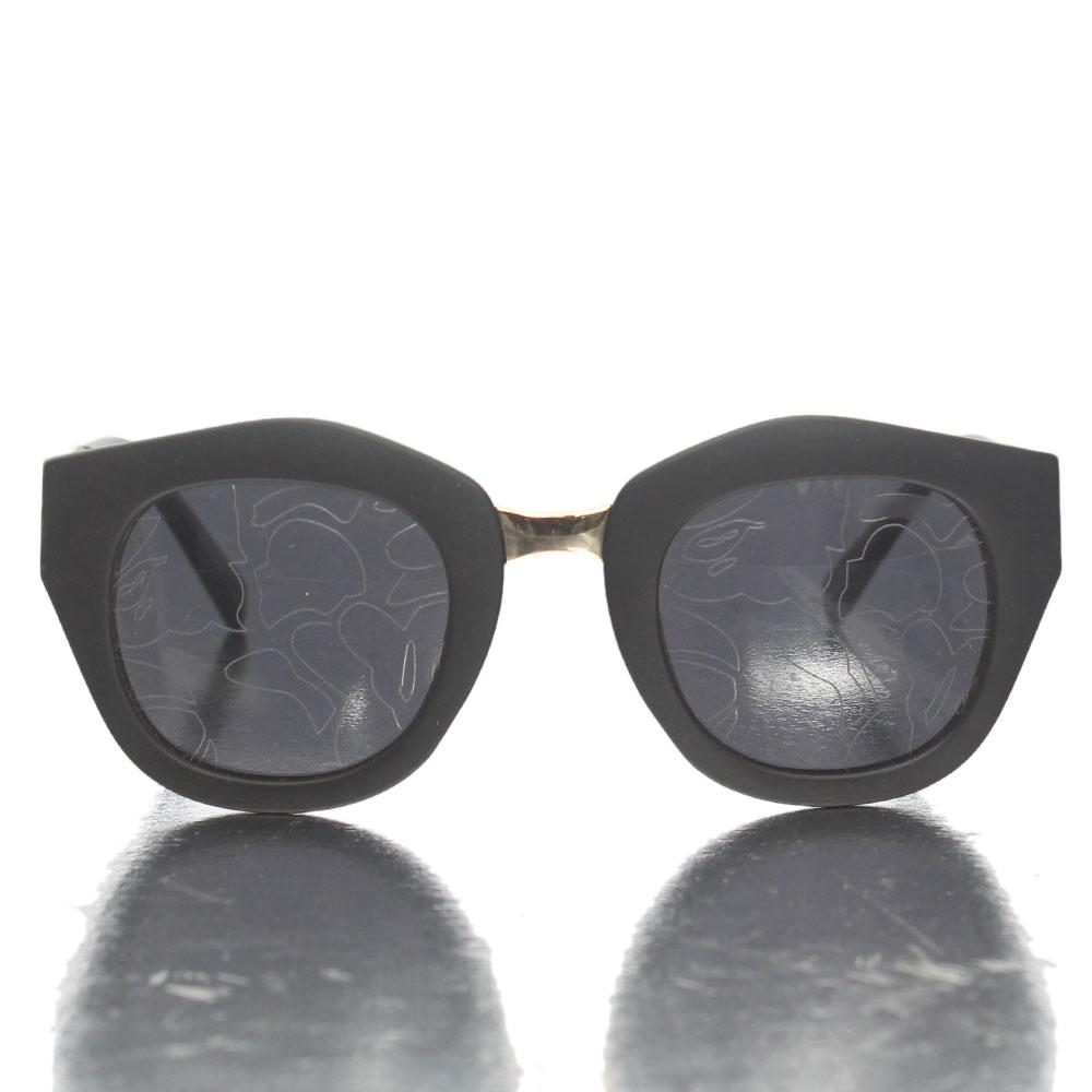 Gold Black Round Face Etched Lens Sunglasses