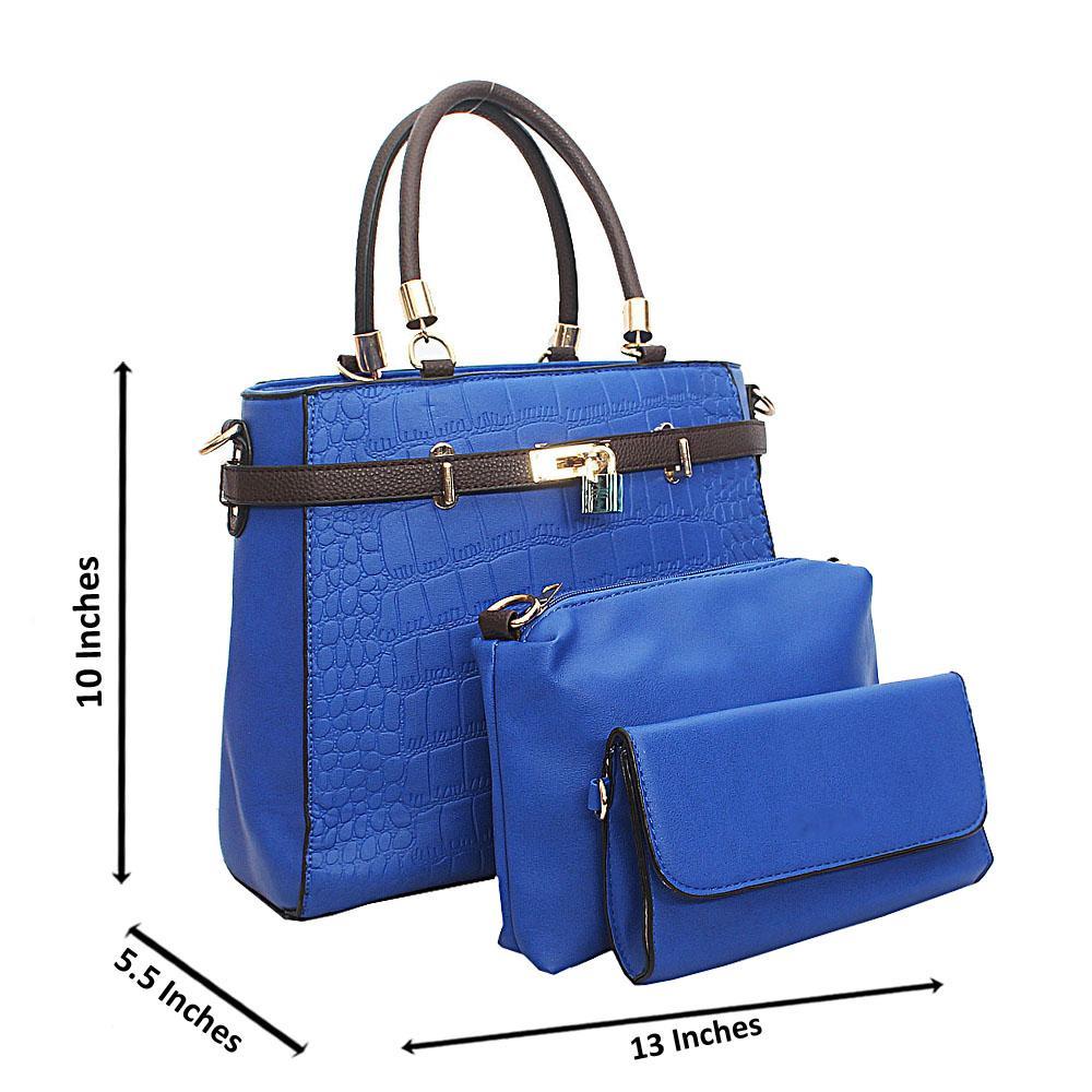 Blue Croc Leather Birkin Top Handle Handbag