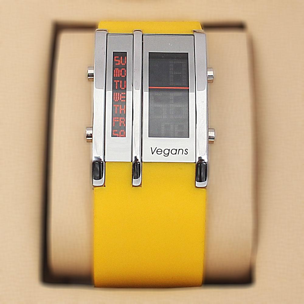 Vegans Yellow Rubber Square 5 ATM Water Resistant Analog Digital Watch