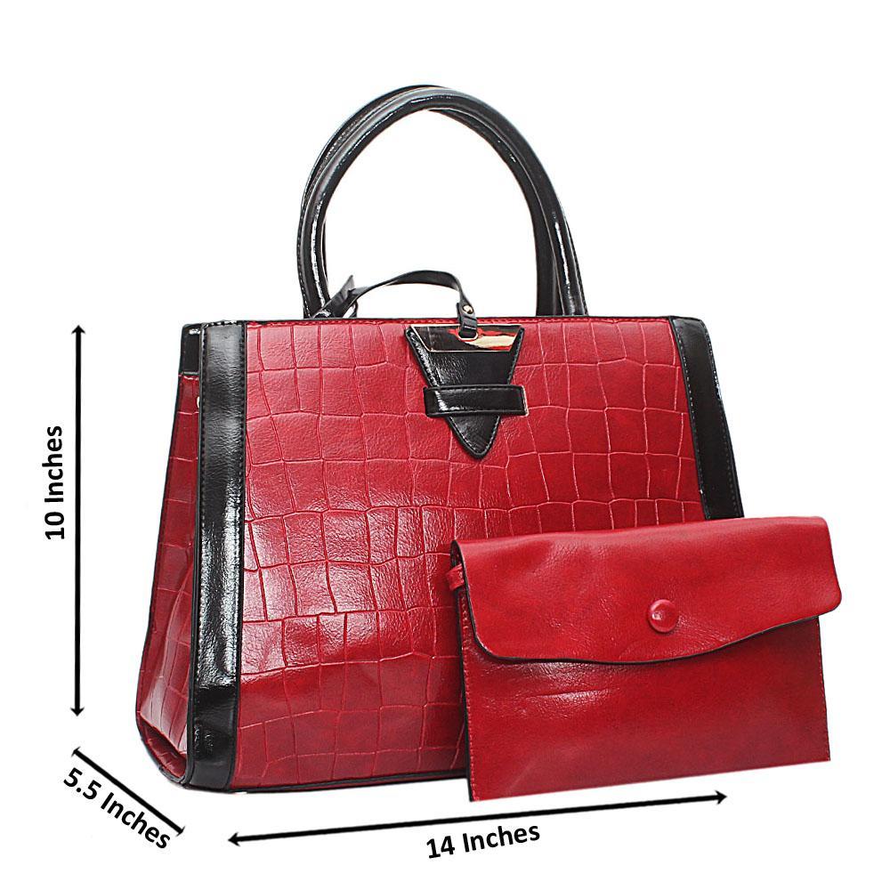Red Croc Leather Marcus Handbag