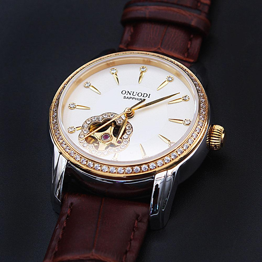 Diane Flower Studded White Face Brown Leather Automatic Ladies Watch