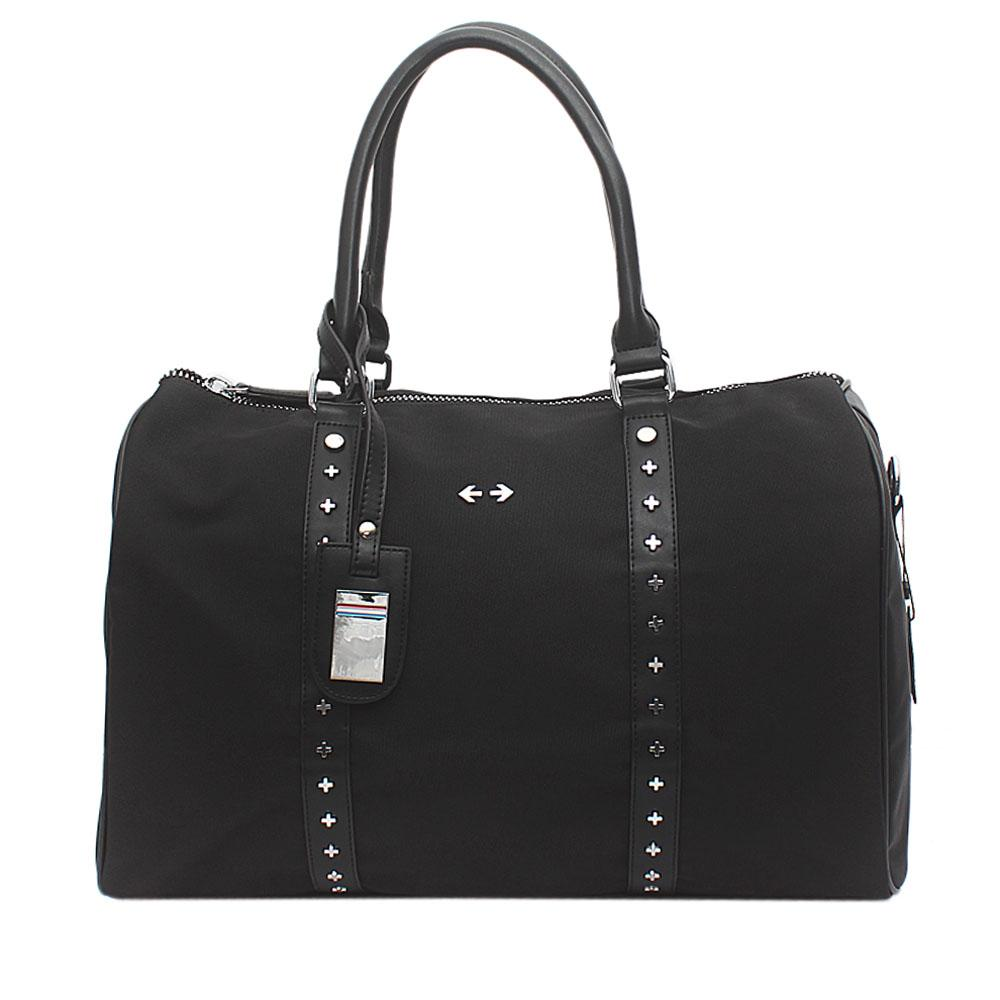 Black Fabric-Leather GG Duffle Bag