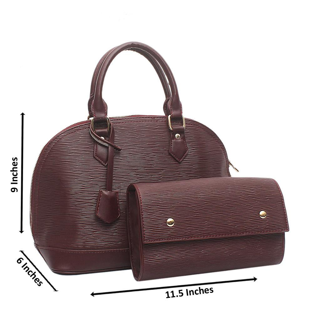 Coffee Medium Alma BB Leather Bag Wt Purse