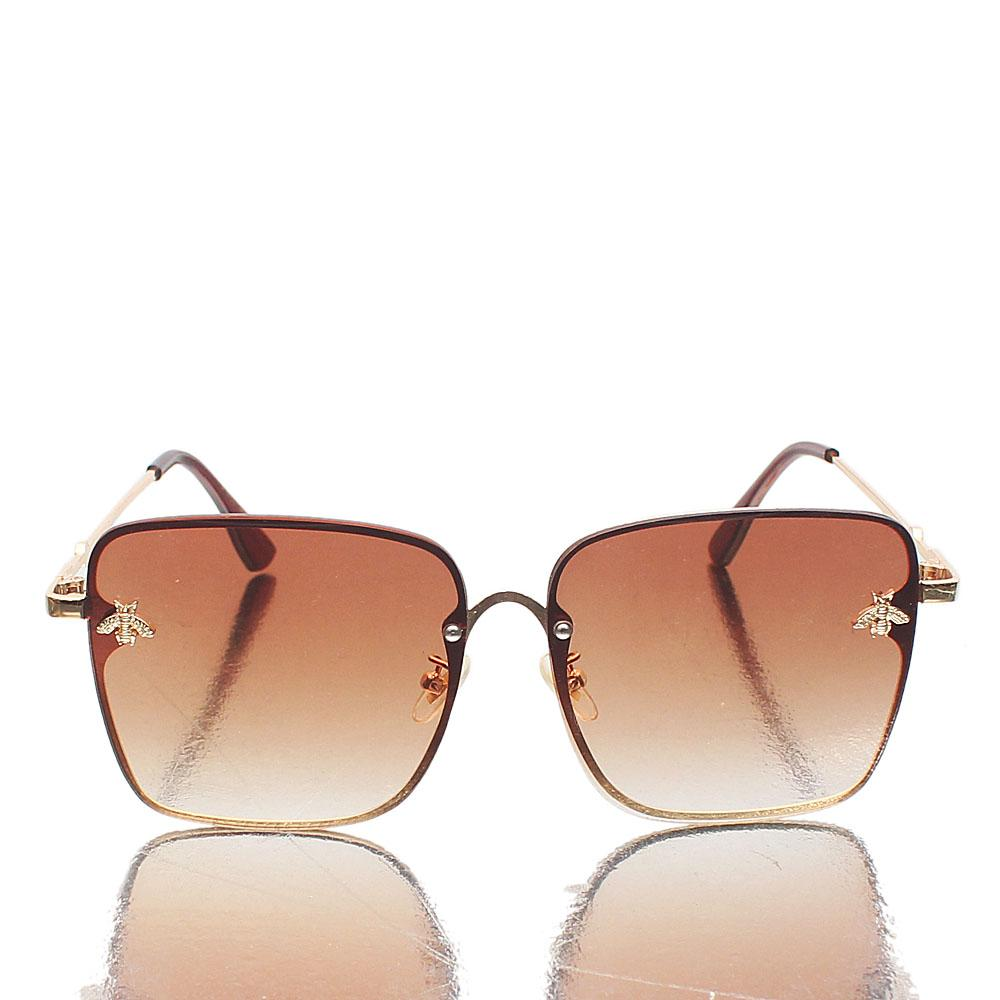 Gold Brown Oversized Sunglasses