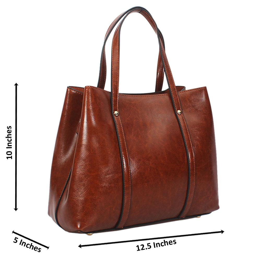 Brown Bella Smooth Leather Tote Handbag