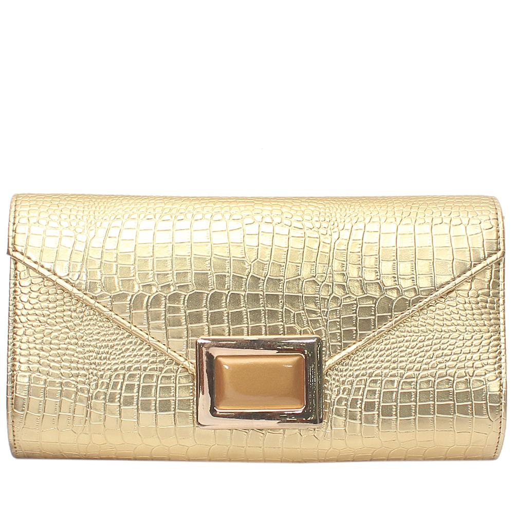 Fashion Gold Croc Leather Ladies Clutch Bag