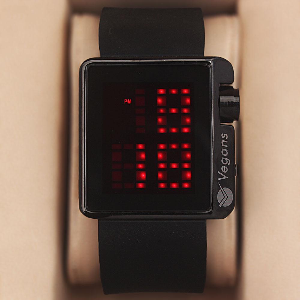 Vegans Black Rubber 3 ATM Water Resistant  Digital Watch
