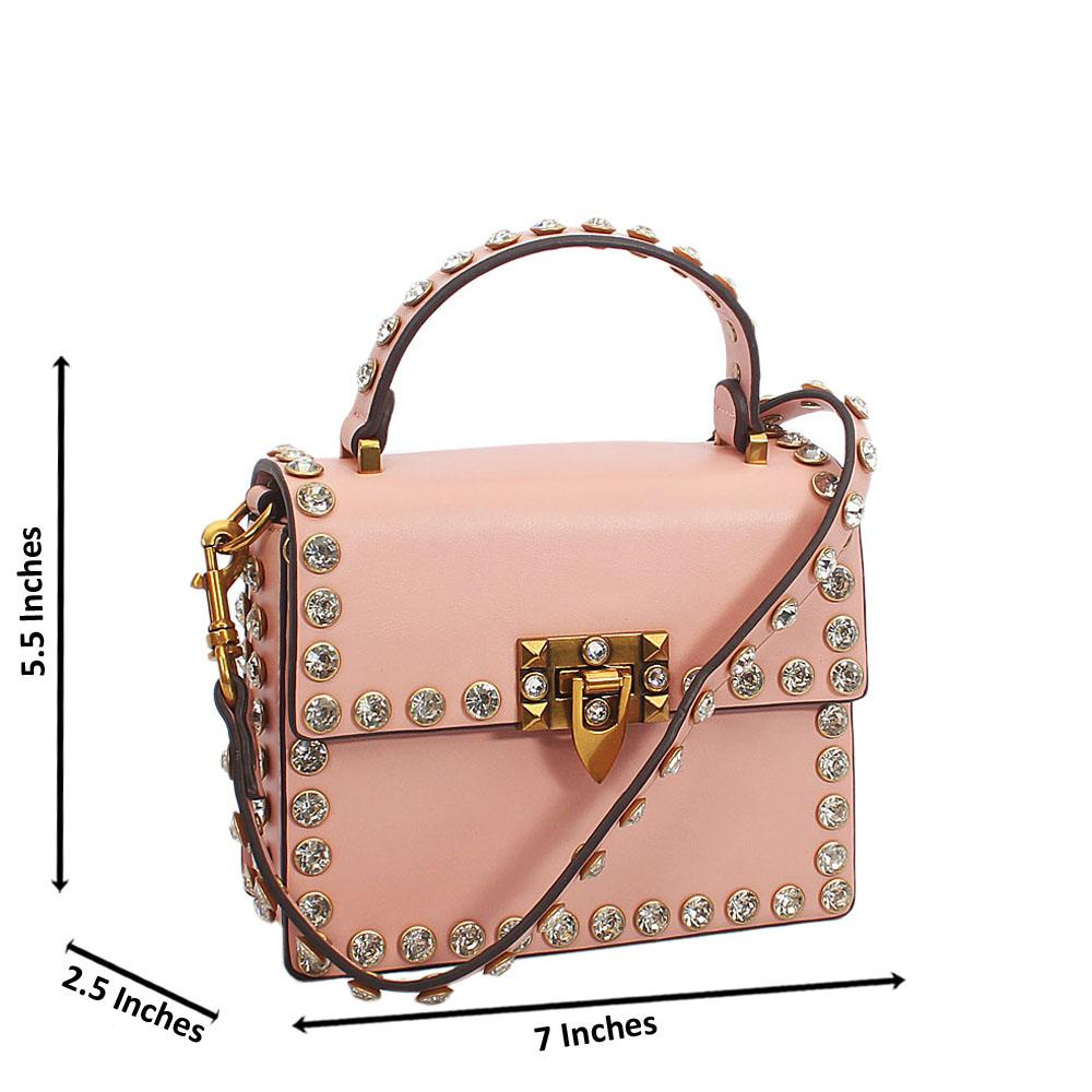 Pink Crystal Studded Etched Tuscany Leather Mini Handbag