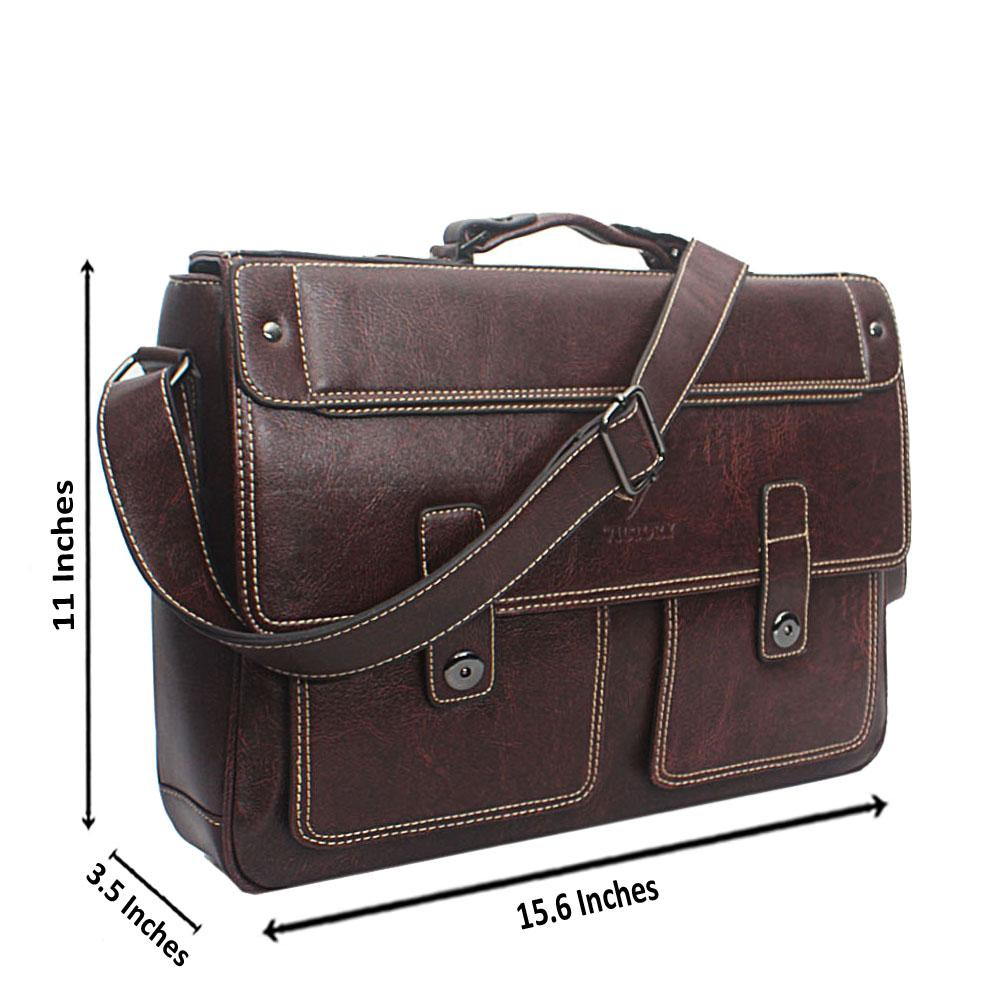 Dark Brown Double Pocket Leather Messenger Bag