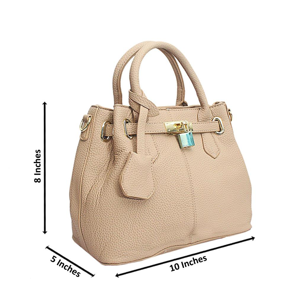 Khaki Leather Small Adorable Handbag