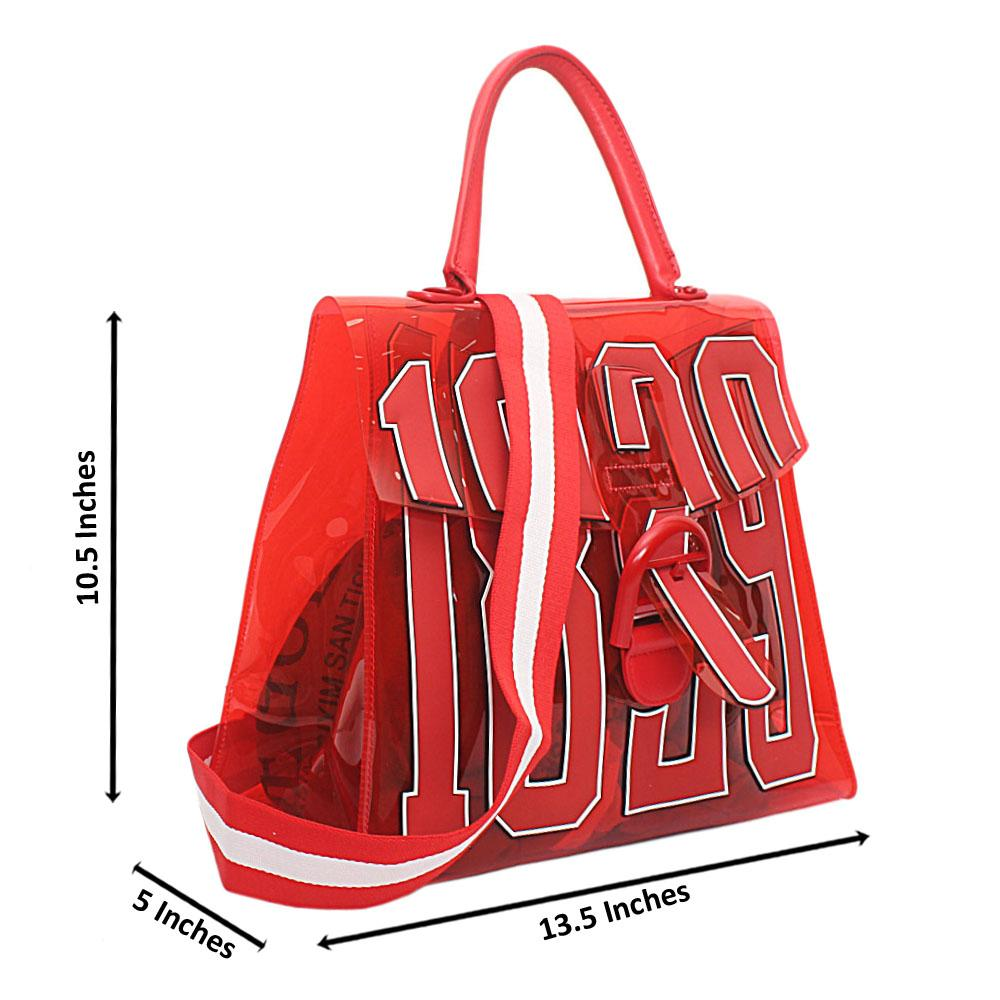 Red Rubber Medium 1829 Top Handle Handbag