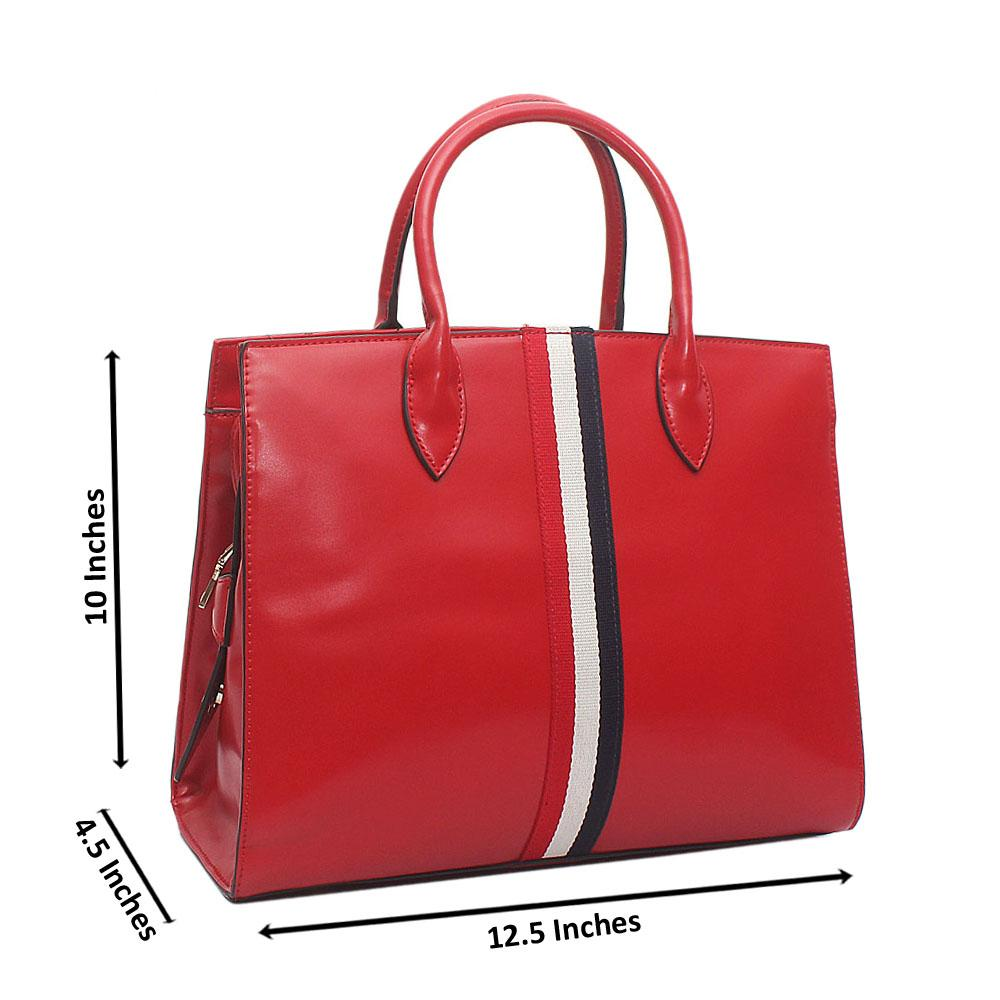 Dupo Red  Leather Medium Handbag