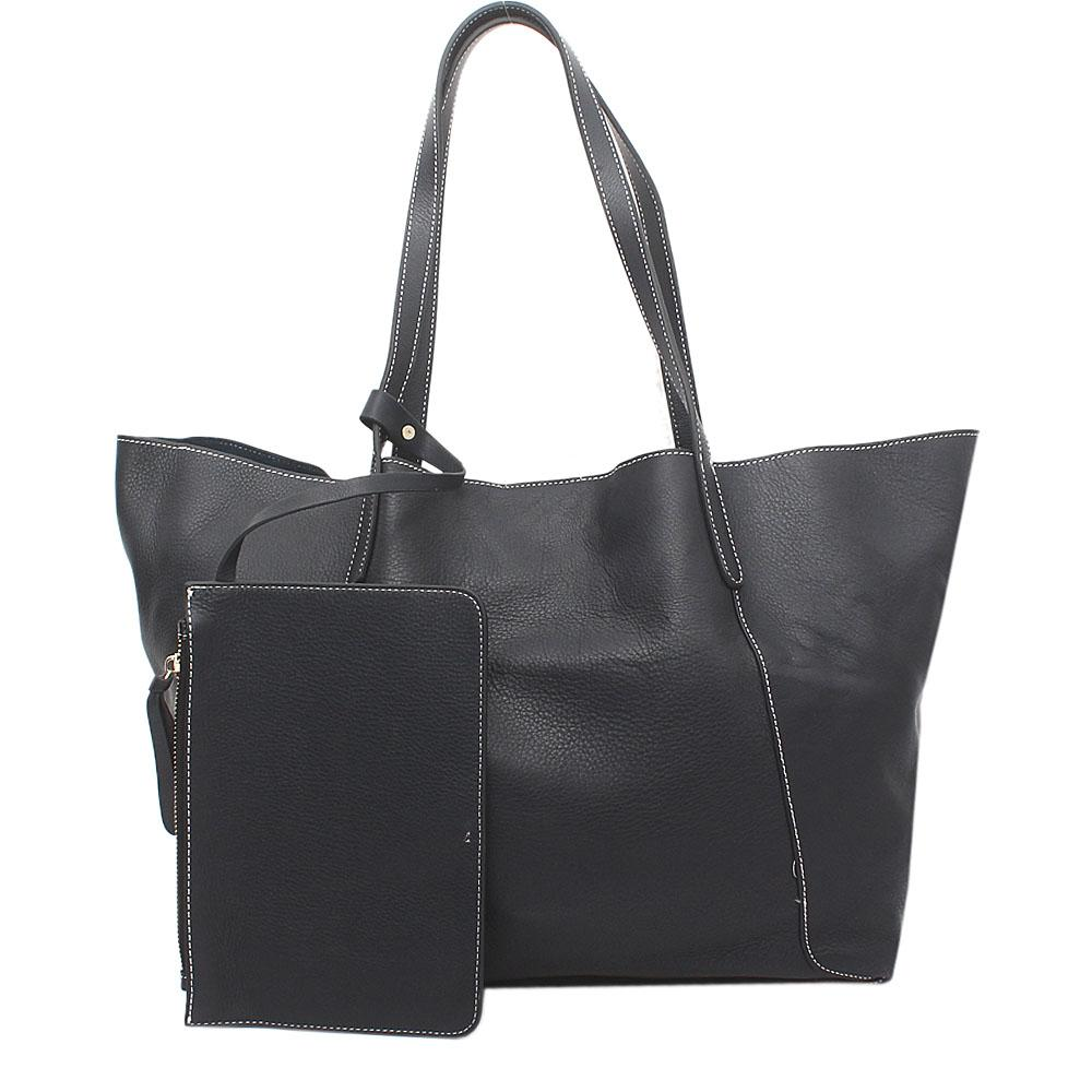 Snorks Navy Saffiano Leather Tote Bag