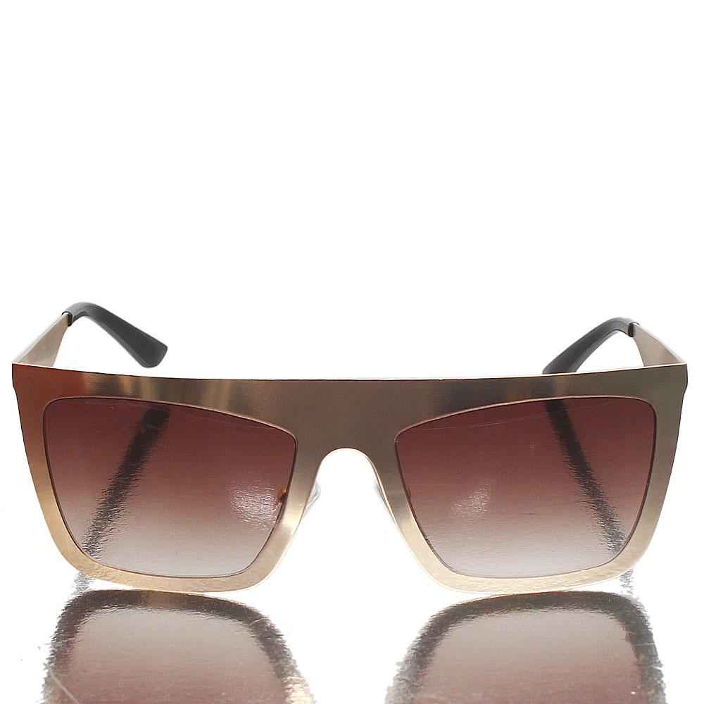 Gold Black Shield Brown Lens Sunglasses