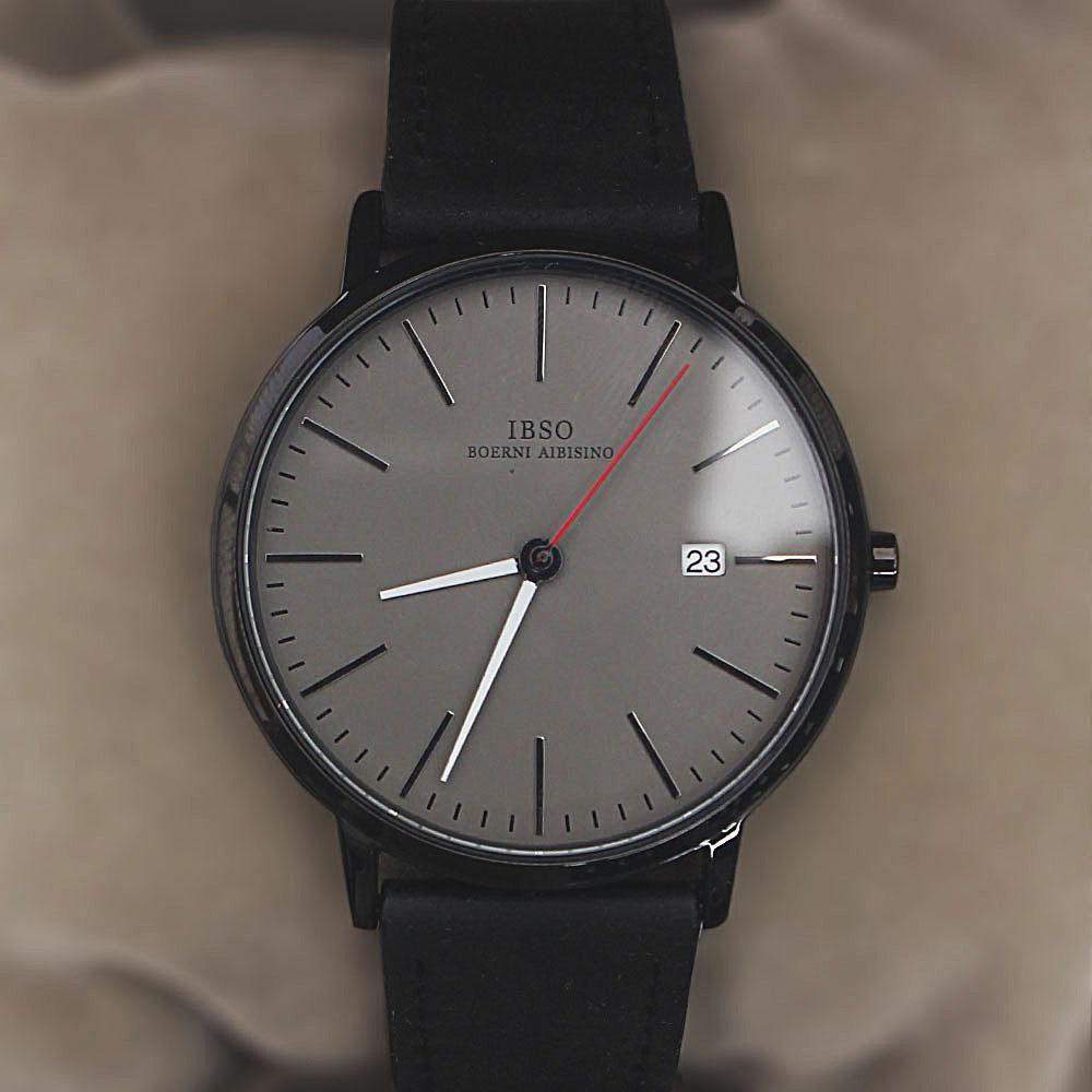 Oldskul Black Leather Flat Watch