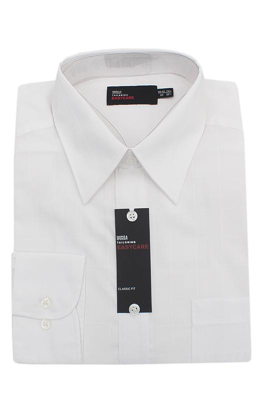 M&S Limited White Tailoring Easy Care Classic Fit L/Sleeve Men Shirt
