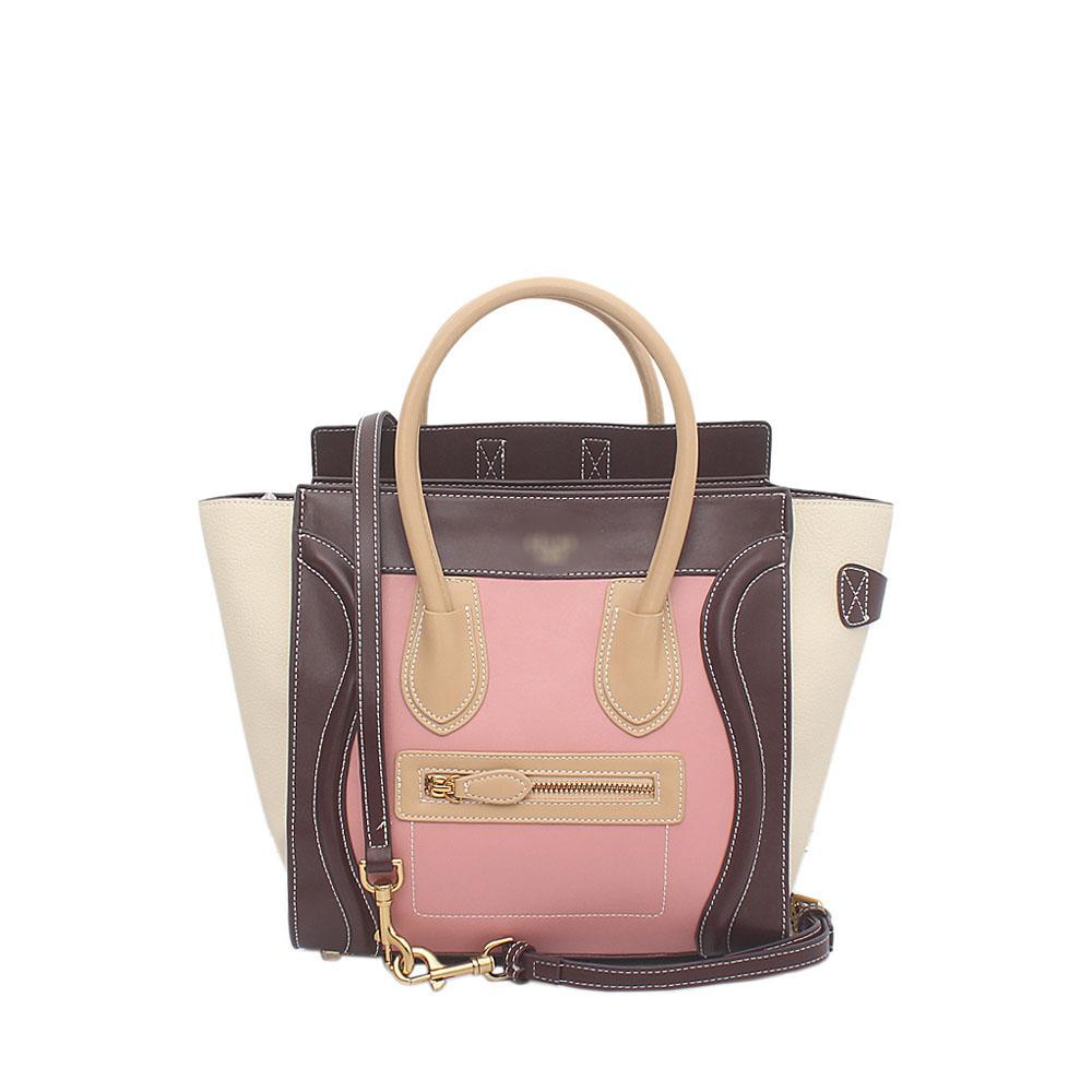 Wine Pink Brown Calfskin Leather Micro Luggage Bag