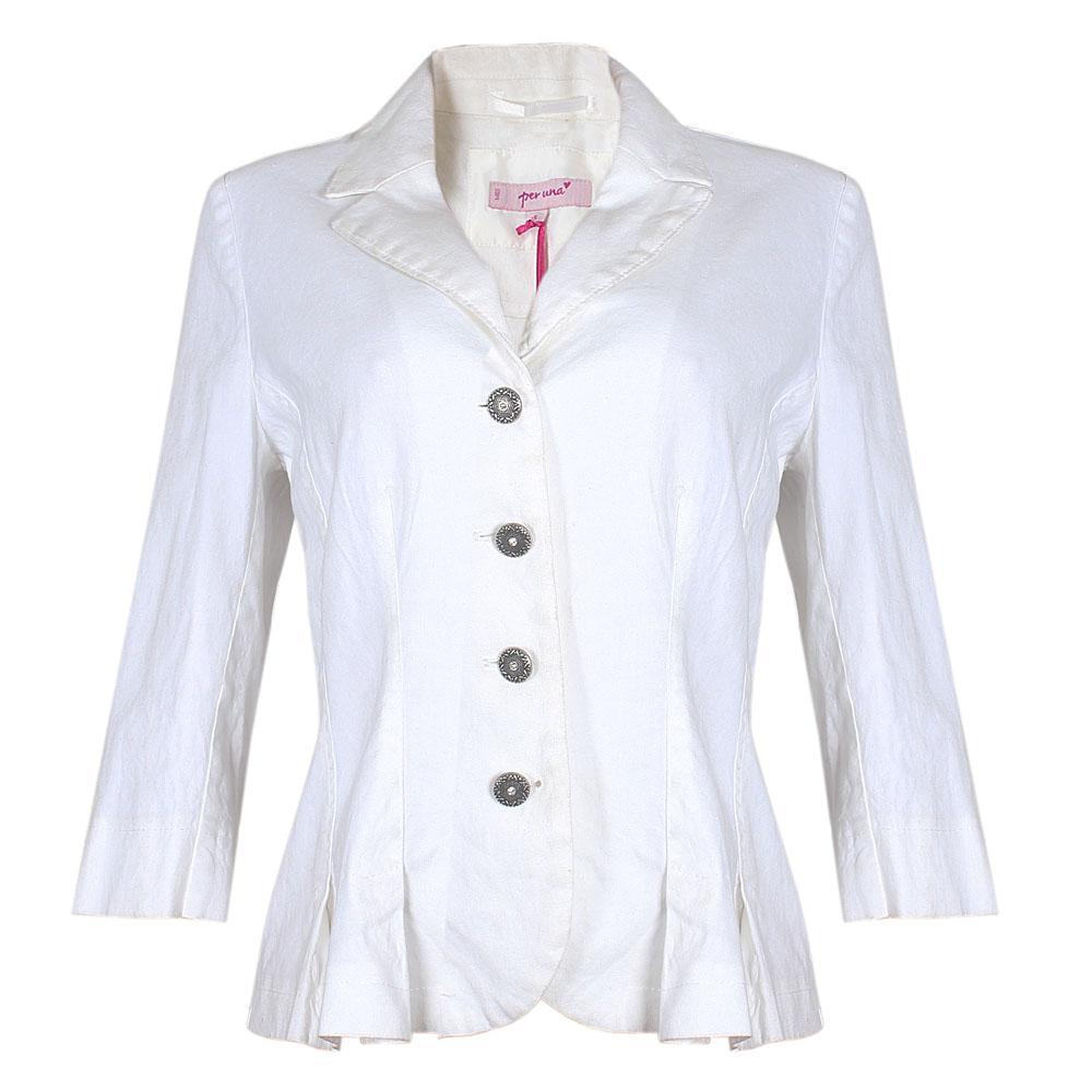 M & S Per Una White Ladies Linen Jacket Sz 14