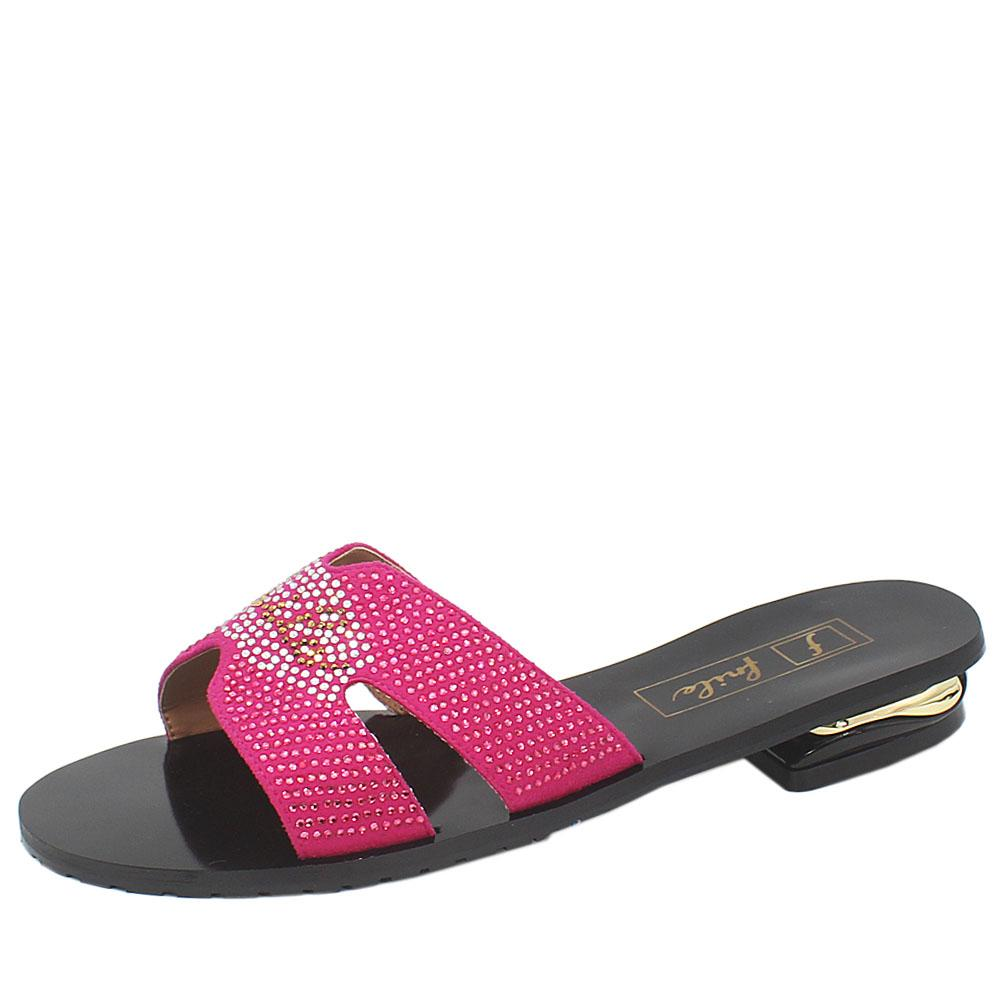 Black Pink Studded Leather Low Heel Ladies Slippers