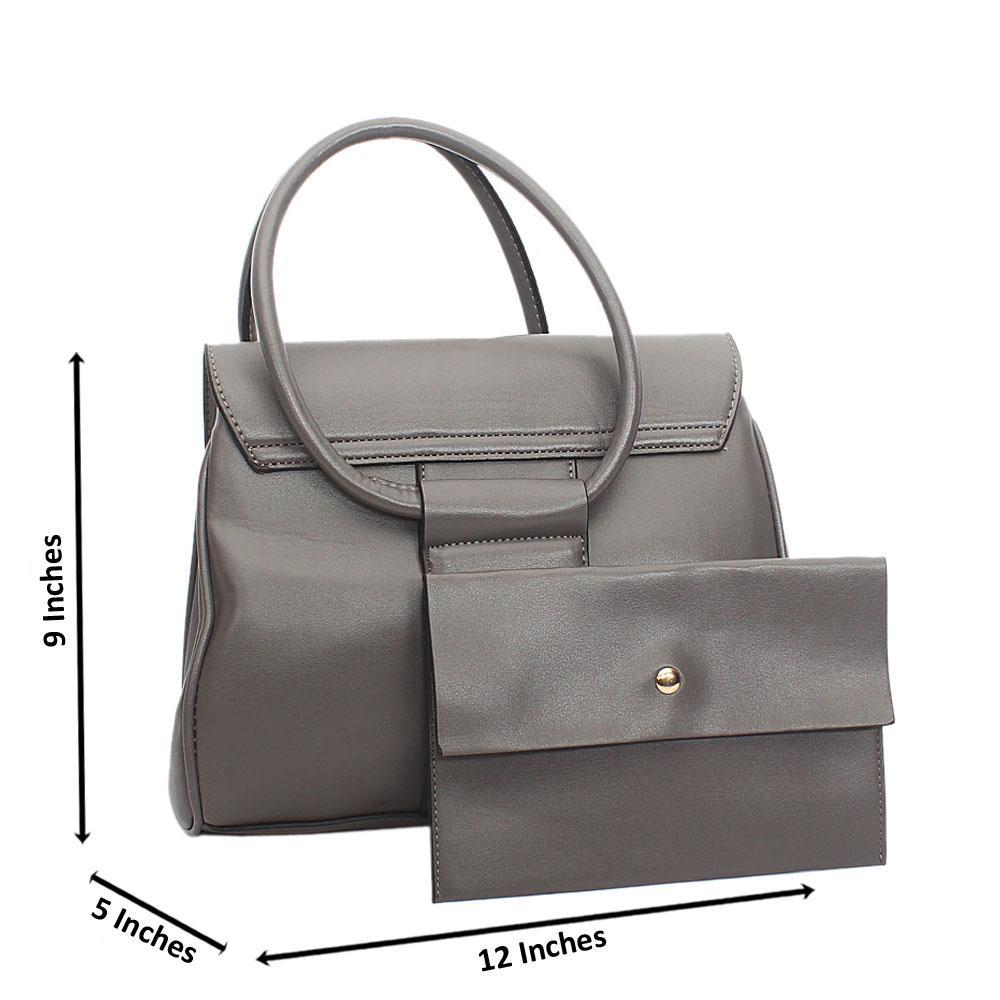 Gray Leah Tuscany Leather Tote Handbag