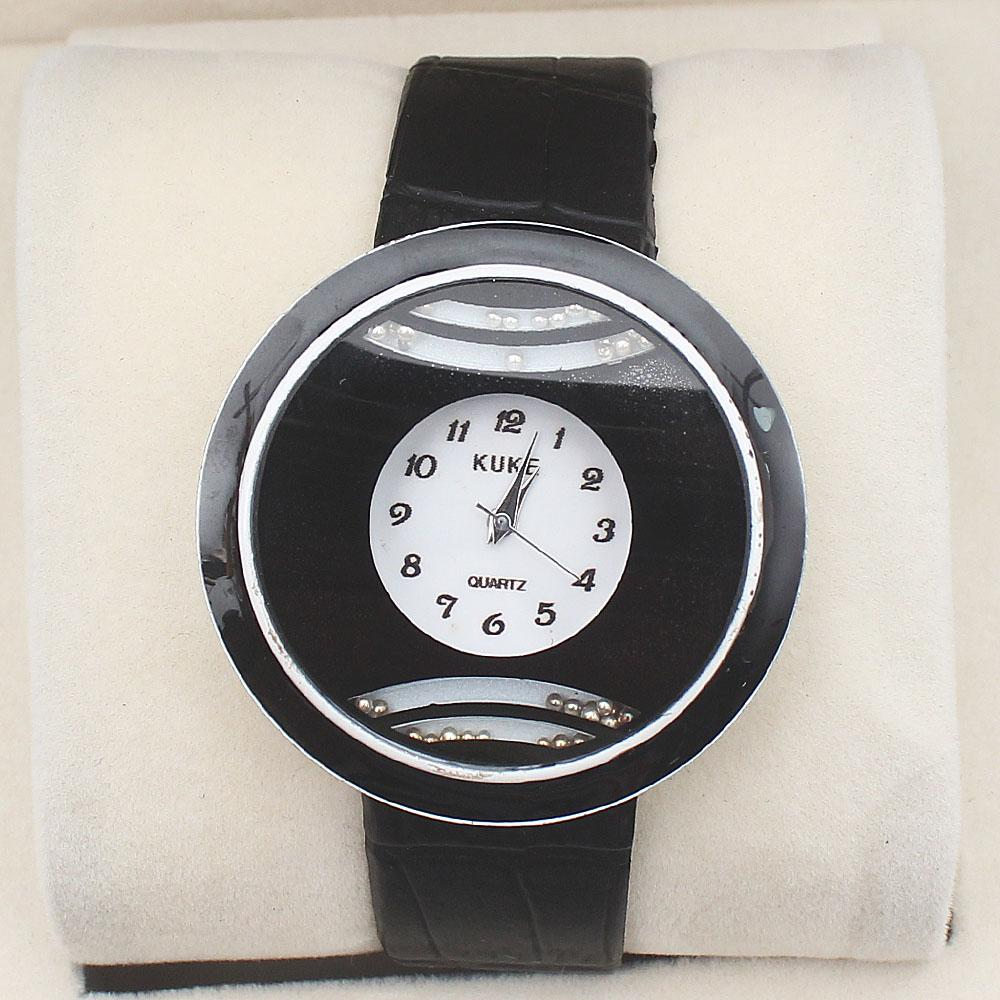 Kuke Black Leather Ladies Watch