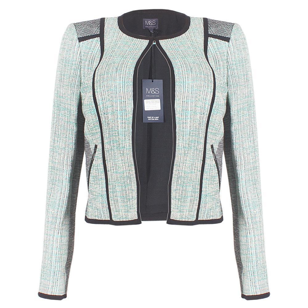 M&S Green Black Mixed Ladies Jacket-Uk 10