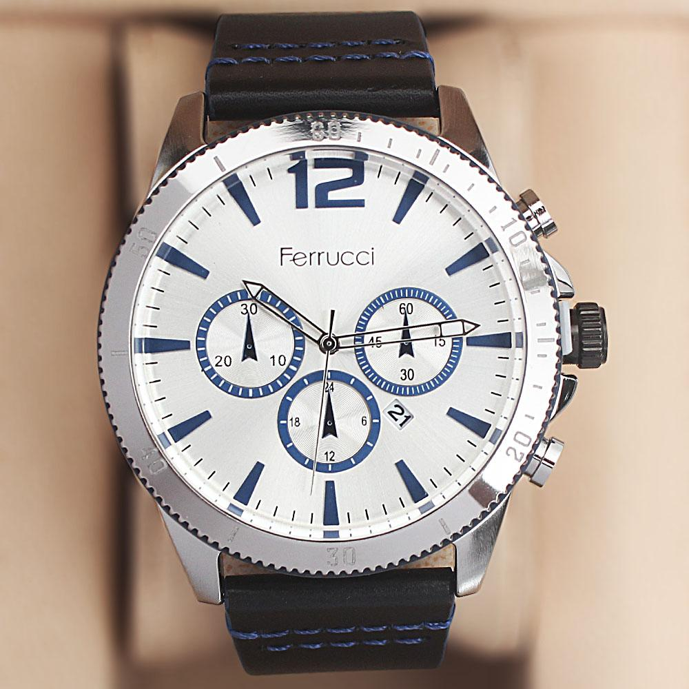 Ferrucci Evlogia Black Blue Leather Watch