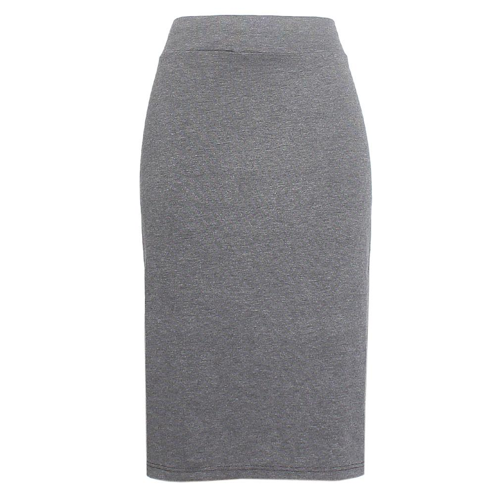 Gray Cotton Stretch Skirt