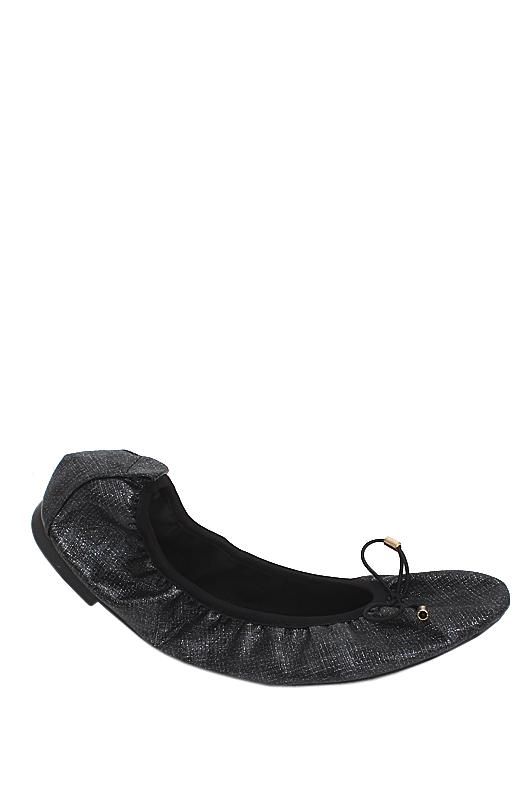 New Look Black Leather Foldable Flat Shoe