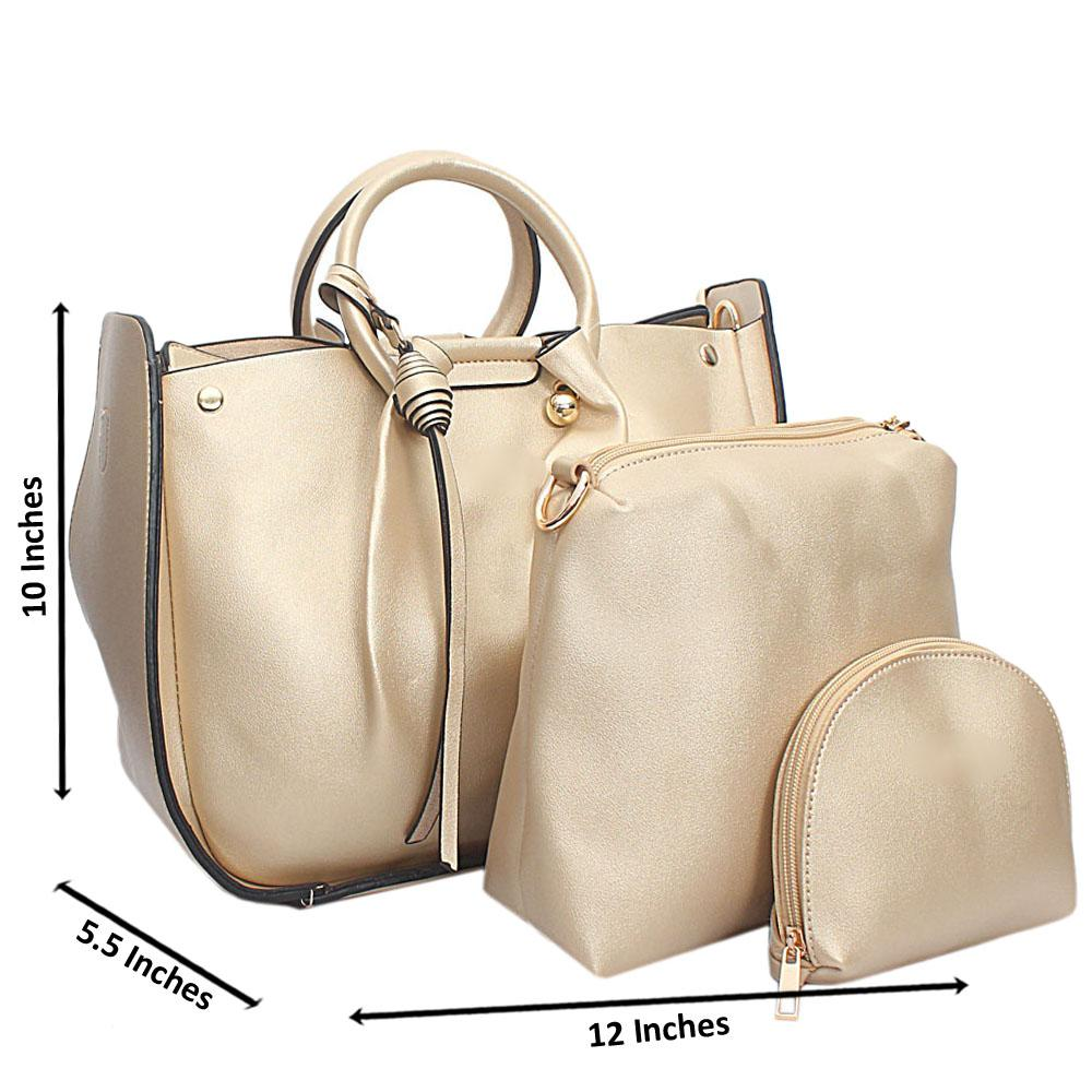 Gold Leather Medium Nice Handbag