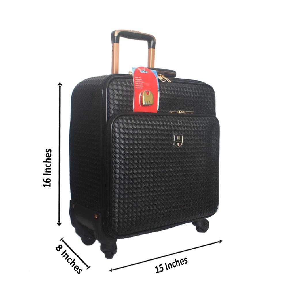 Black Wooven Style Leather Pilot Suitcase Wt Lock