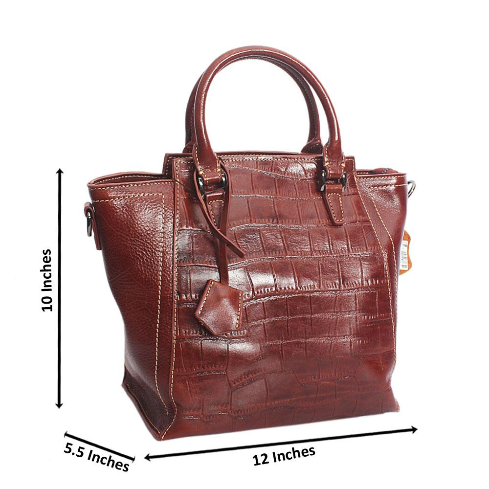 Classic Brown Crocodile Pattern Cow Leather  Handbag