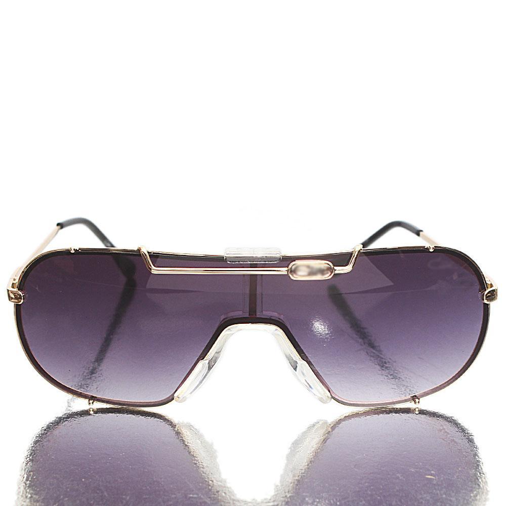 Gold Black Dark Shield Lens Sunglasses