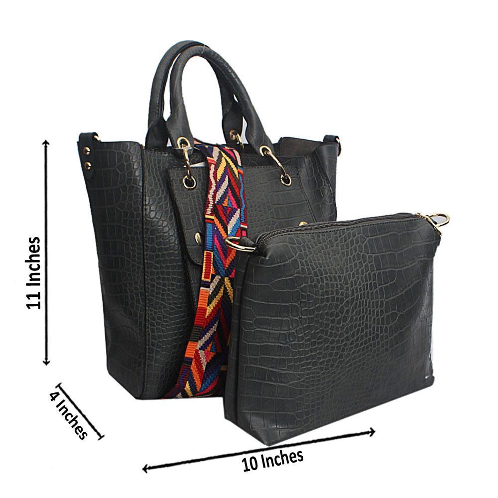 Grey Croc Leather Handbag