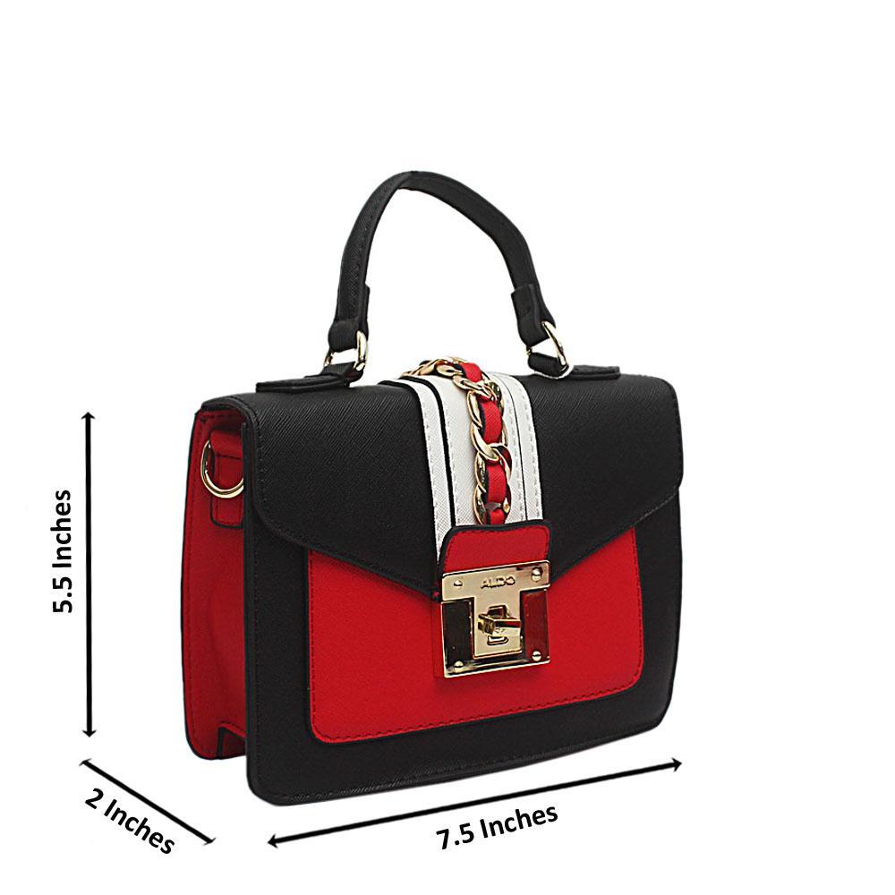 Aldo Black Red Leather Mini Handle Bag