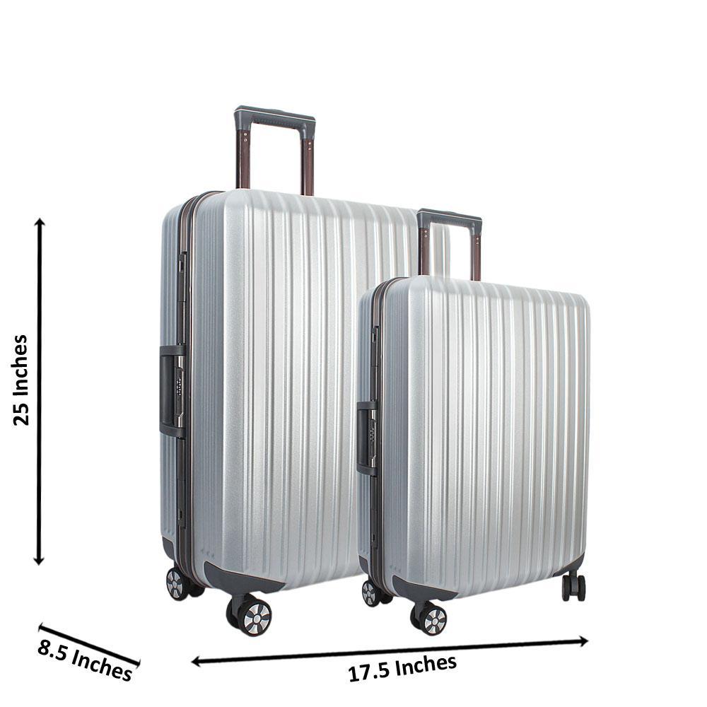 Silver 25 inch Wt 20 inch 2 in 1 Hardshell Luggage Set Wt TSA Lock