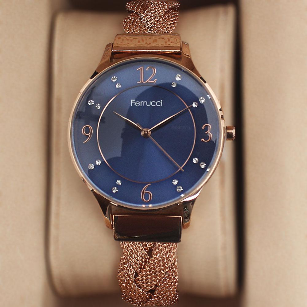 Ferruci Spatio Stoned Rose Gold Ladies Mesh Watch