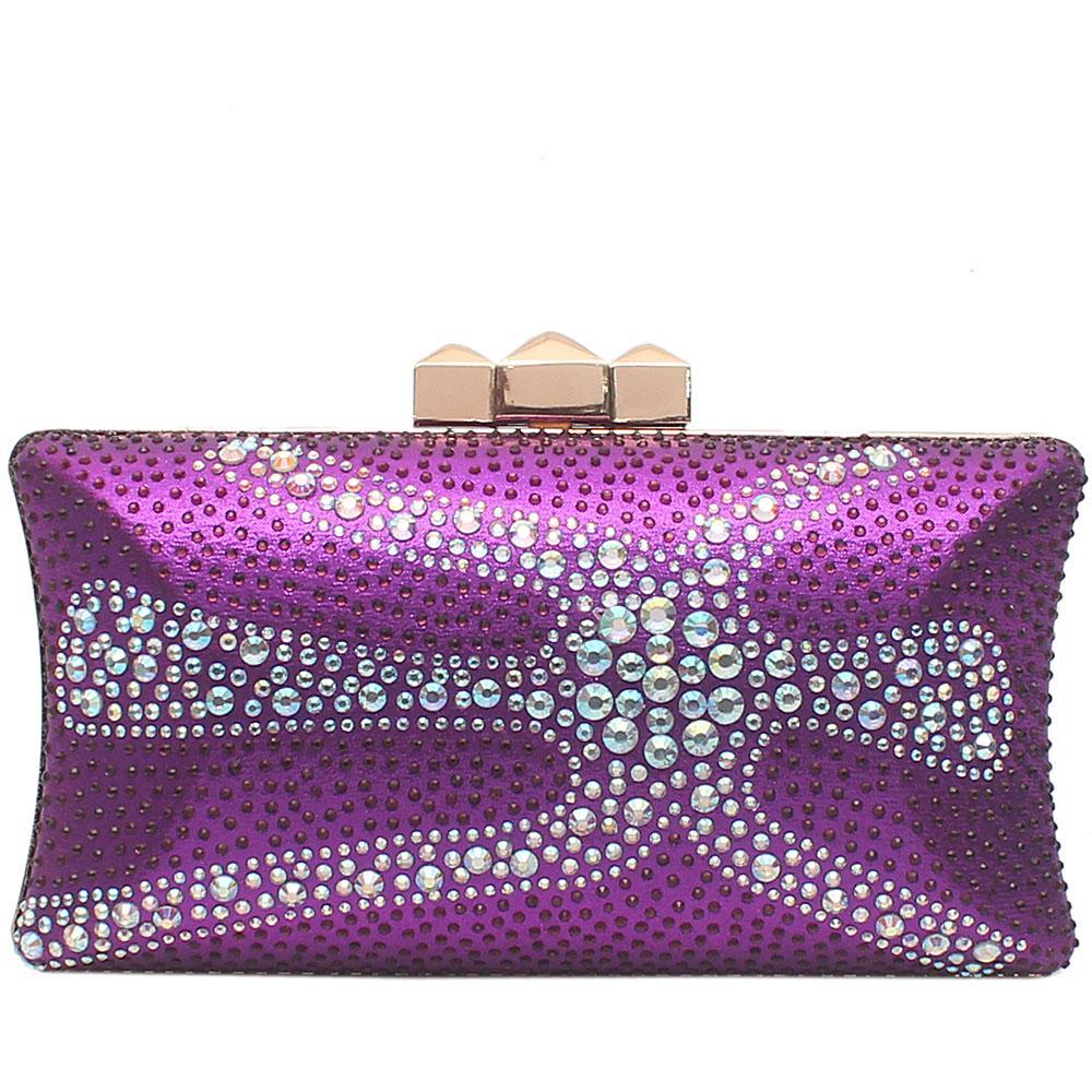 Purple Glitz Studded Premium Hard Clutch