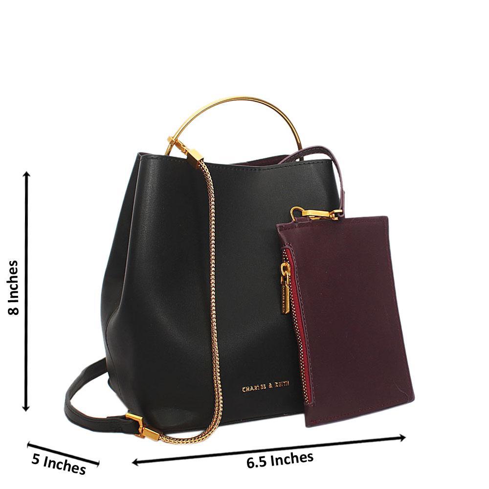 Black Sofia Leather Mini Top Handle Handbag