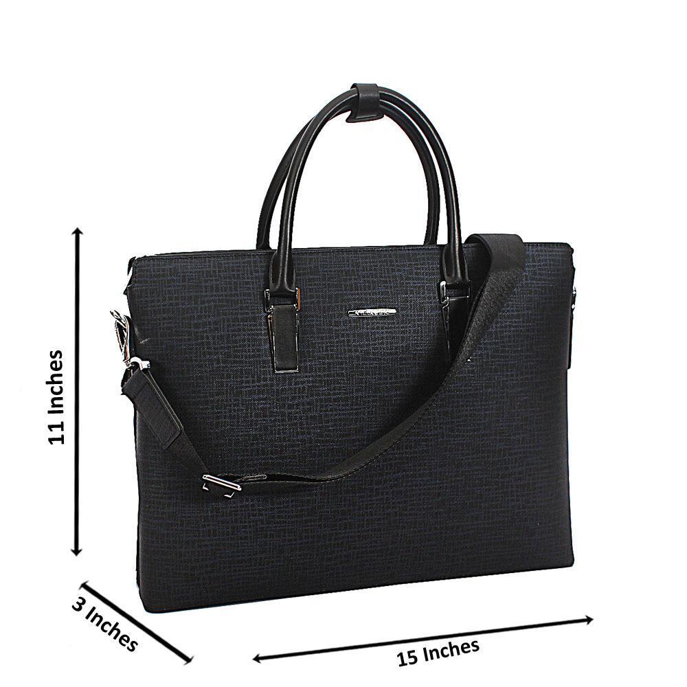 Dark Blue Patterned Cowhide Leather  Briefcase wt Side Zip